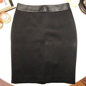 Banana Republic Leather Trim Pencil Skirt